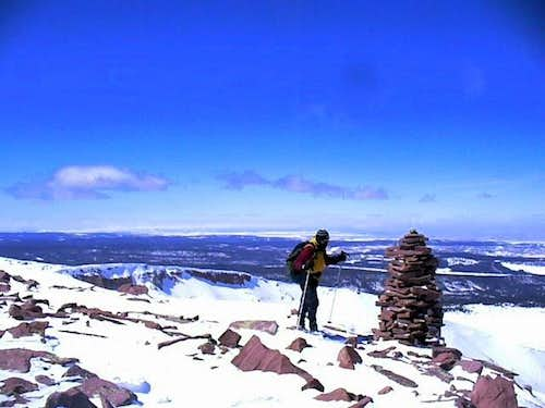 Summit cairn of Coffin Peak