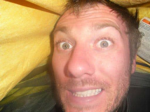 me in my bivy sack during the snowstorm
