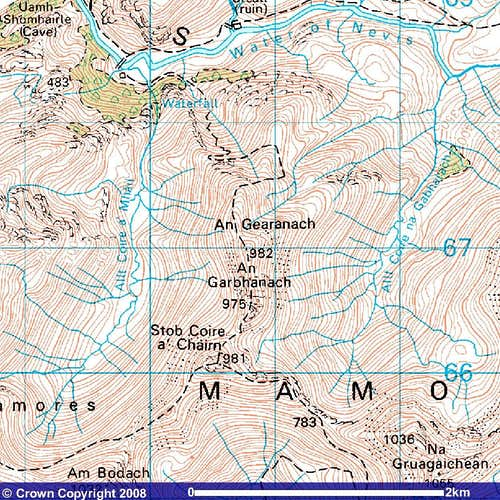 Extract from the OS 1:50K map of An Gearanach
