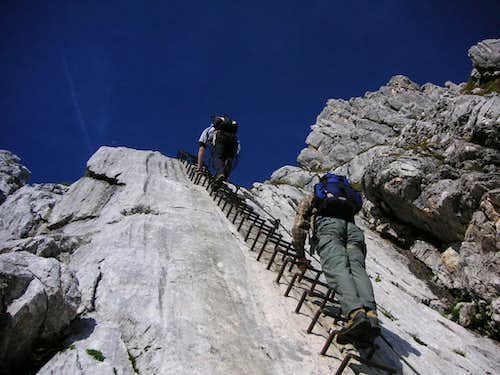 Long ladder at Alpspitze ferrata