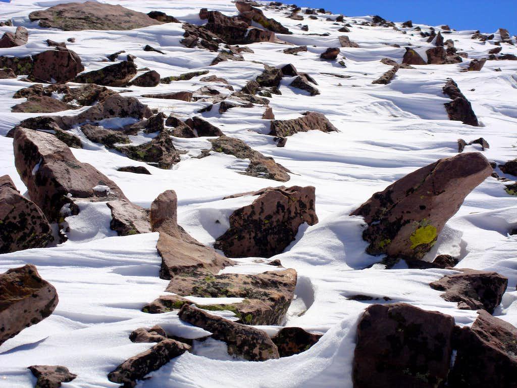 Windblown snow of Coffin's ridgeline
