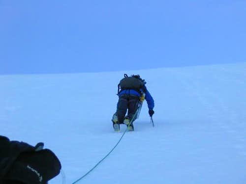 Pitching up to gain NW Ridge...