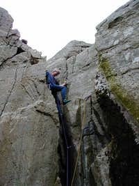 Ken nears the belay
