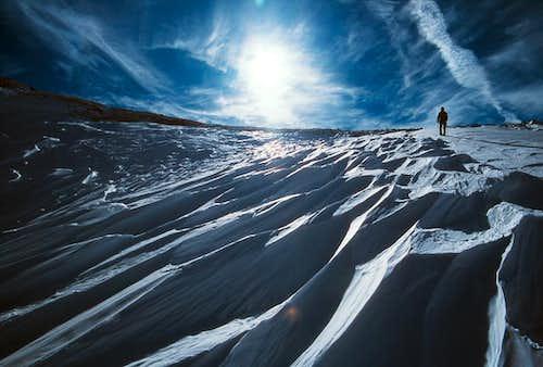 Andy descending Andrews Glacier
