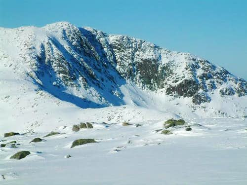 The craggy corrie face on the...