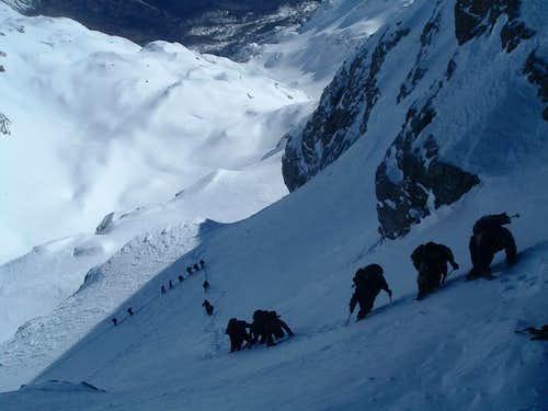 Climbing the summit dome