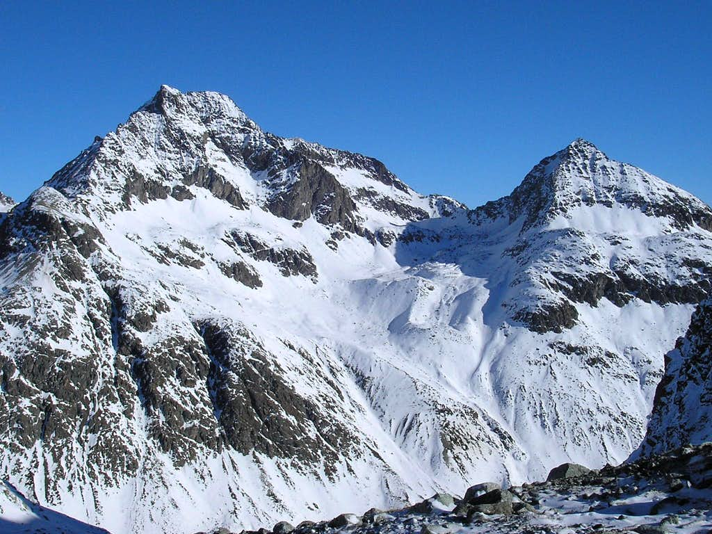Piz Julier 3380m (left) and Piz Albana 3100m (right)