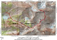 Route from Ashley Lakes traverse.