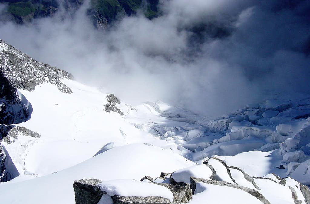 Crevasses on the way to Mont Blanc