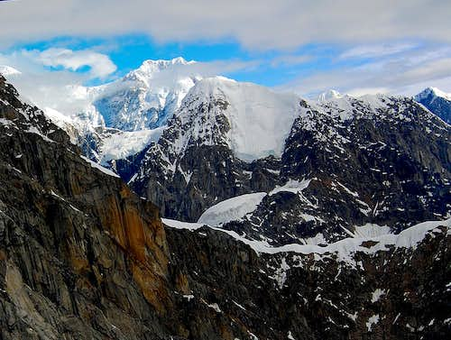 MOUNT FORAKER TOWERING OVER THE WALLS OF THE GREAT GORGE-ALASKA RANGE