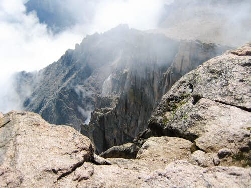 Longs Peak-Summit-From atop the Diamond Face-Looking down at Mount Meeker