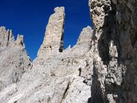 path to the climbing routes of the Vajolet towers