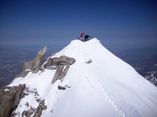 Michael & Grizz on Lone Peak shoulder tip