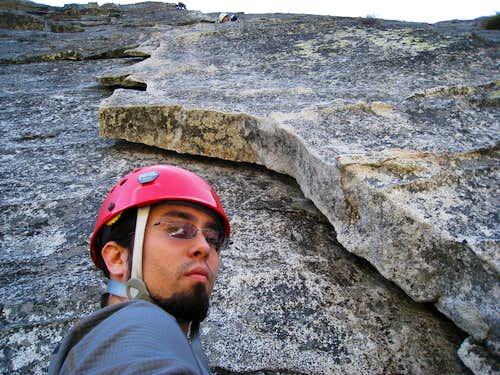 Below the first belay ledge on Bear's Reach