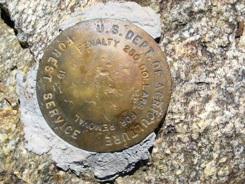 Marker on Antimony Peak (6848\')