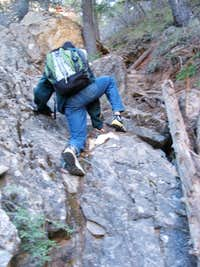 Scrambling Up Gully