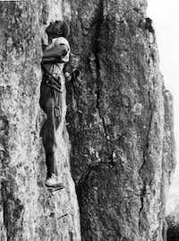 Climbing Vollrathriss at Riffler, Frankenjura