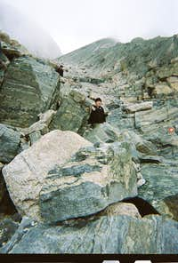 Longs Peak-The Decsent-K navigating the rough terrain near the bottom of the Trough