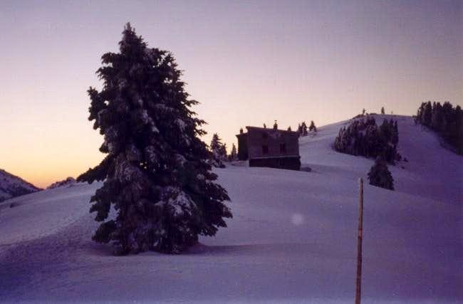 The hut at dusk