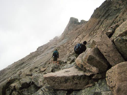 Longs Peak-The Descent-The Ledges-K and Dan-Dan looking for the way to the Keyhole