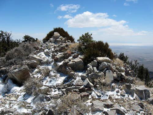Summit cairn and mailbox