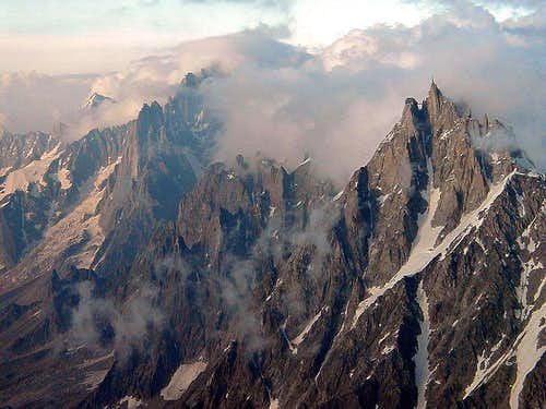 Aiguille du Midi from above the Gouter hut