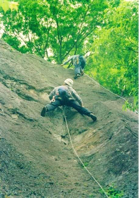 Bill leading a trad route and...