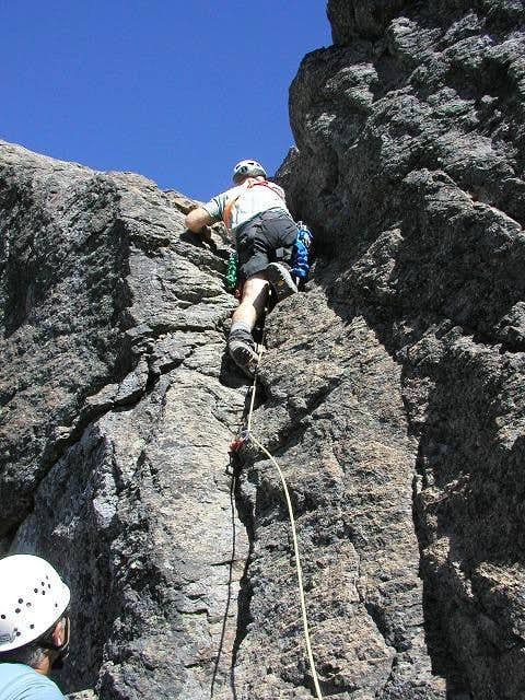 At the top of the crux