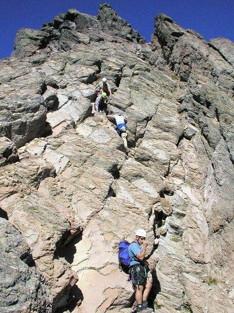 Descending the east face of...