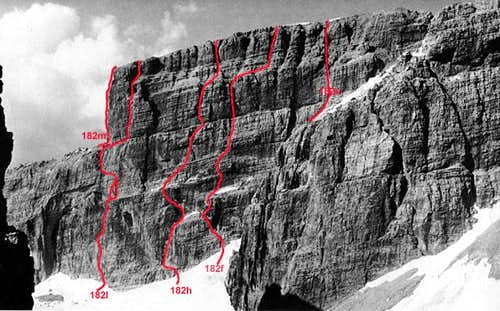 The routes on Cima Grostè\'s...