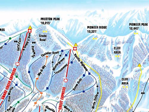 Brighton Ski Resort Trail Map, Showing Preston Peak