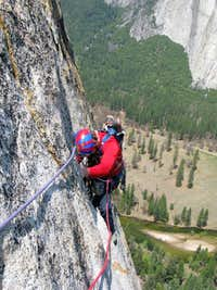 The final traverse to the pitch 8 belay ledge