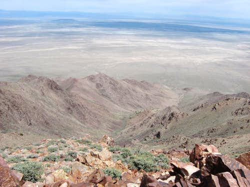 Looking down the NE ridges