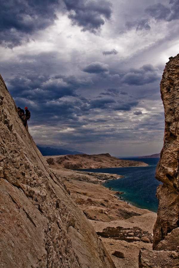 Climbers on Pag