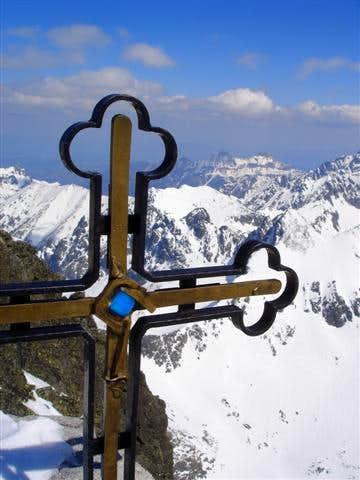 Summit cross on Gerlach (2656m),the highest point in Tatra Mountains,Slovakia