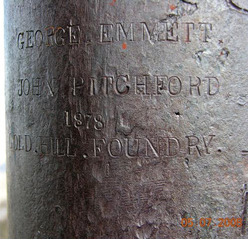 Engraving on the Mount Davidson, NV flagpole