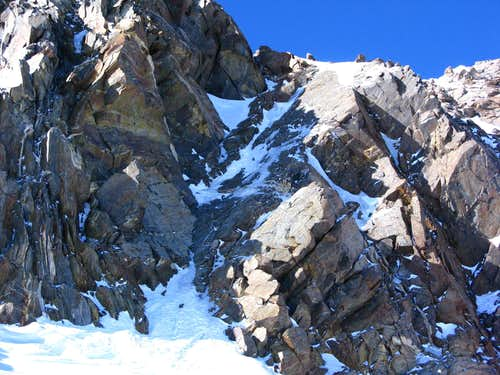 The couloir from Silbersattel up to the Dufourspitze 4634m