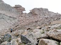 Longs Peak-The Descent-One last look back at the Keyhole