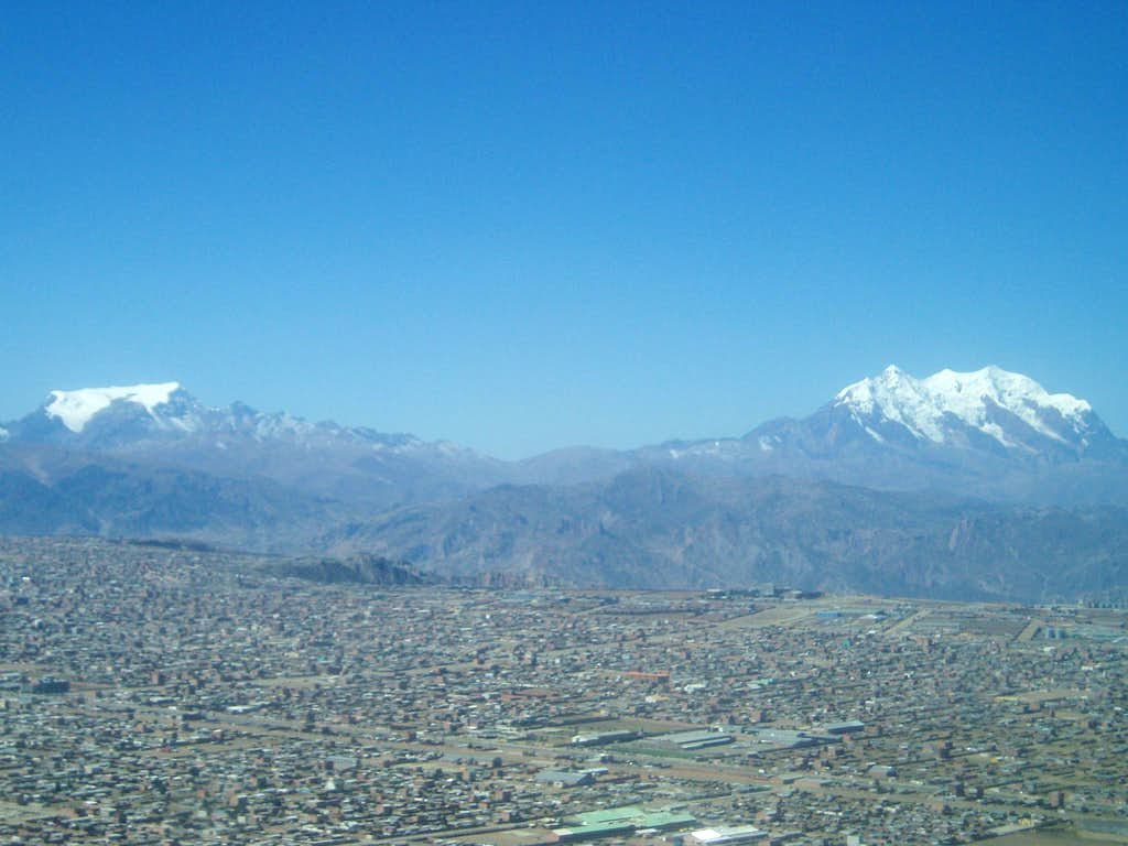 Illimani and Mururata from a bird's view