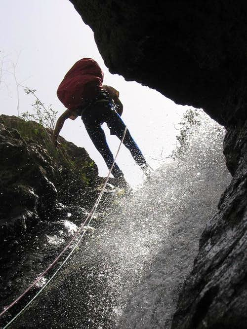 Descending the waterfall of ..