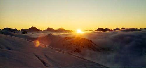 Sunrise from the Barrels Huts.