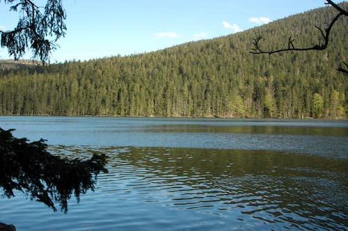 Black lake in Sumava Mountains