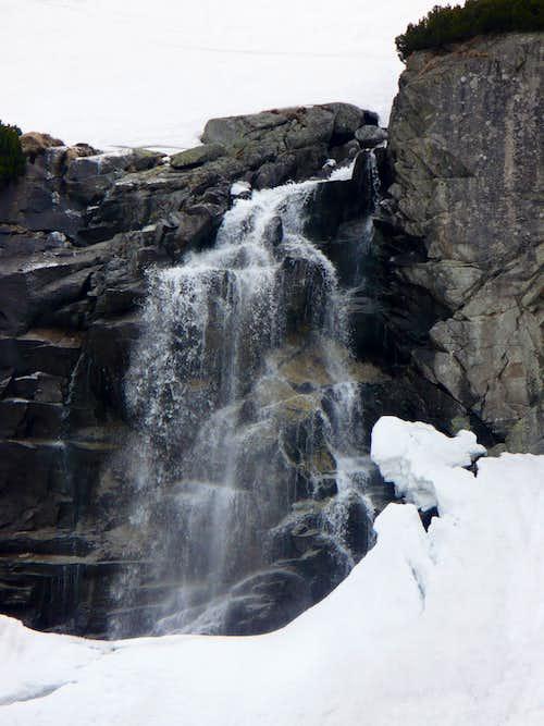 Snow seracs around waterfall Skok (1800 m)