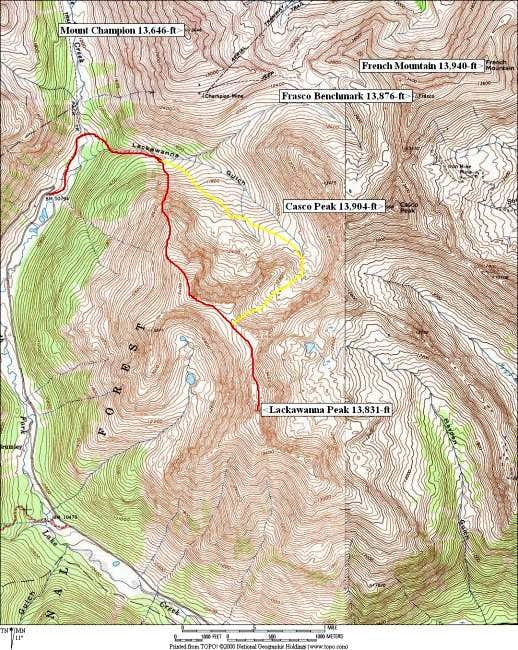 NW Ridge/Lackawanna Gulch Loop Route
