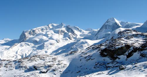 Monte Rosa and Lyskamm in winter