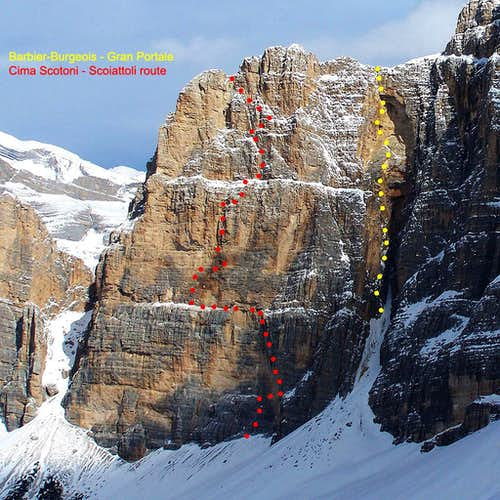 Cima Scotoni - main routes
