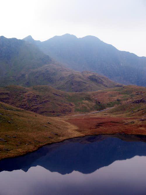 Lliwedd reflected in Llyn Teyrn
