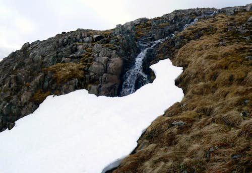 Snow covered stream/mini waterfall