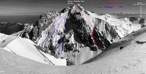 Corno Grande West Ski routes