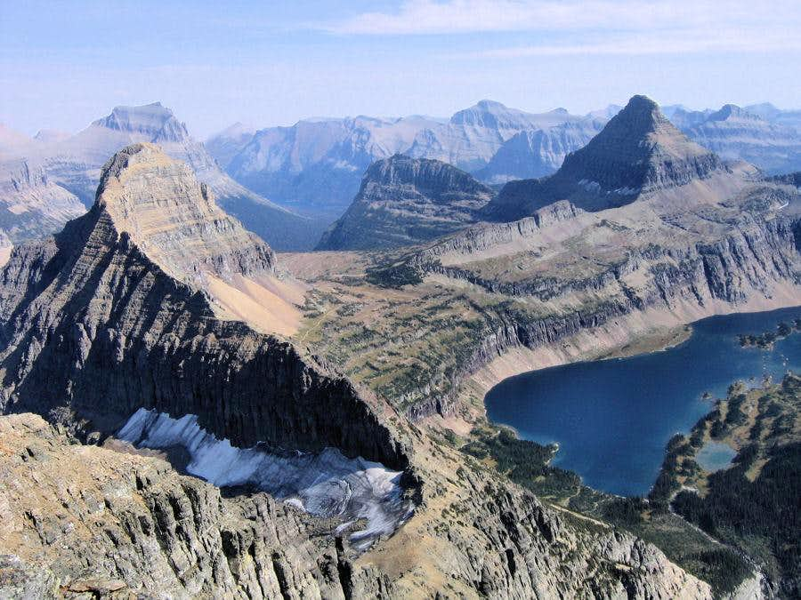 View into the Logan Pass Area from the Mount Cannon Summit